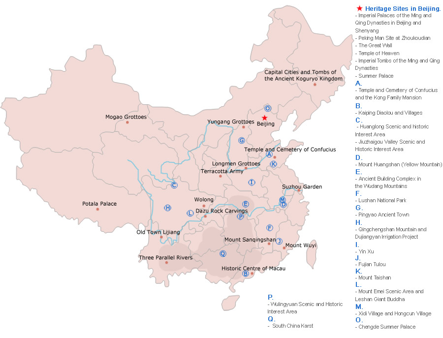 Map of World Heritage Sites in China